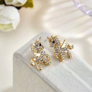 Any 2/$20! Gold Crystal Pave Unicorn Stud Earrings